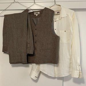 Men's Brown Linen 3 Piece Suit